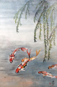 Koi and Willow, Sumi-e by Carol Waite  (April 2015)