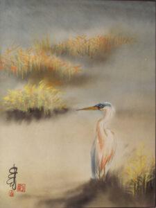 Misty River Heron, Sumi-e by Carol Waite  (October 2015)