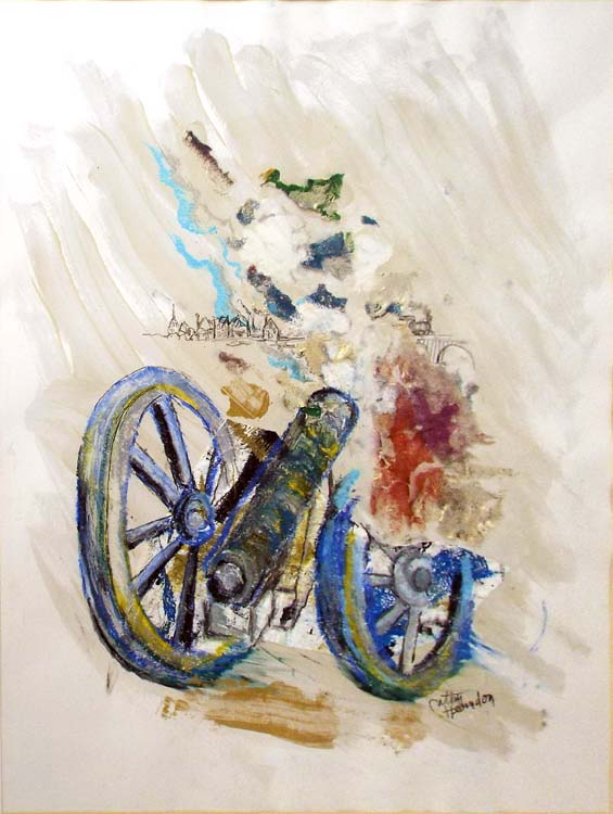 HONORABLE MENTION: Fredericksburg Icon, Cannon with Train, Mixed Media by Cathy Herndon  (February 2015)