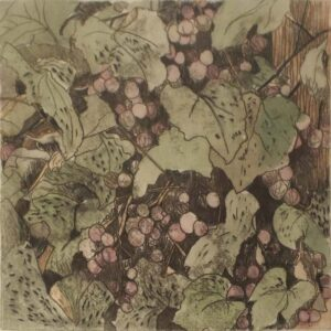 Grapevines I, Monotype with Watercolor by Christine E Long  (February 2015)