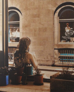 Girl in Window, Montreal-Metallic Photograph by Deborah Herndon  (May 2015)