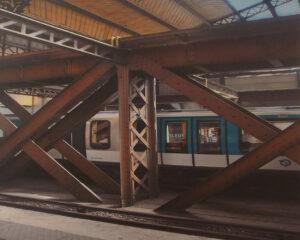 Metro Gare Beams, Paris, Metallic Photograph by Deborah Herndon  (November 2015)