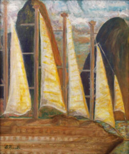 Sunset Sail, St. Lucia, Acrylic and Collage by Diane B Russell  (October 2015)