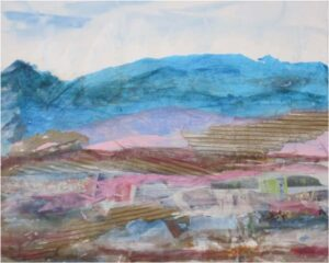 It Looks Like a Familiar Mountain Range, Mixed Media Collage by Elizabeth Shumate  (April 2015)