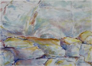 Rock Wall, Watercolor on Paper by Elizabeth Shumate  (April 2015)