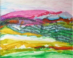 Rolling Hills, Collage Mixed Media by Elizabeth Shumate  (February 2015)