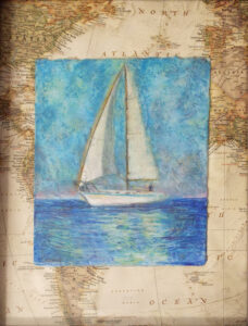Sail Boat, Mixed Media by Iryna Hamill  (Dec. 2015-Jan. 2016)