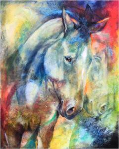 Sunset Dream, Mottled Horses, Acryli by Iwona Jankowski  (October 2015)