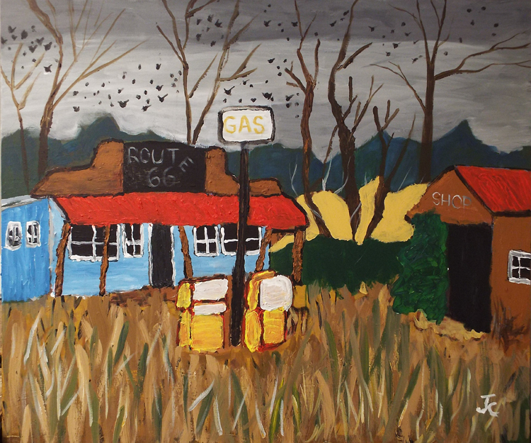 HONORABLE MENTION: Abandoned Gas Station, Acrylic by James Clark  (October 2015)