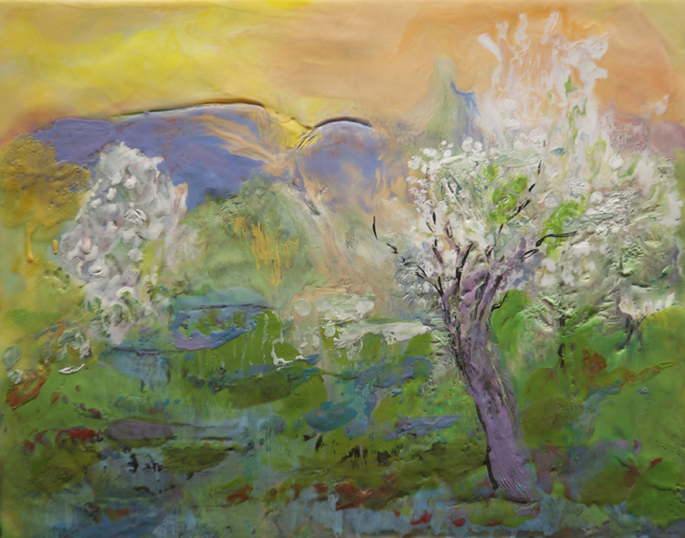HONORABLE MENTION: Wild Cherry, Encaustic by Jane Forth (June 2015)