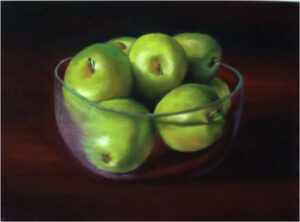 Bowl of Apples, Soft Pastel by Judy Leasure (July 2015)