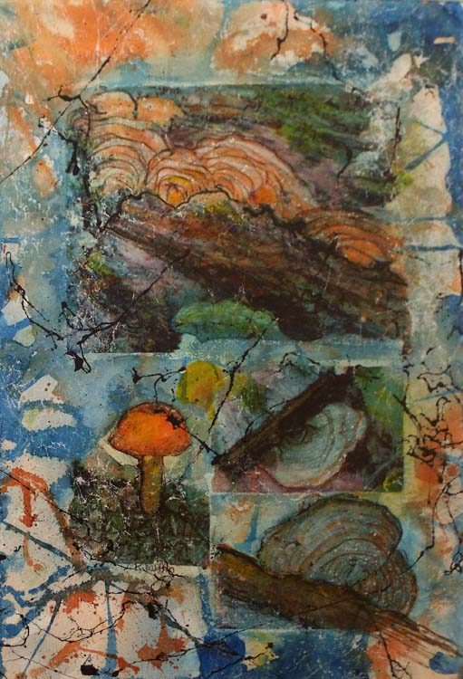 HONORABLE MENTION: Shelf Fungi, Mixed Media by Karen Julihn (June 2015)