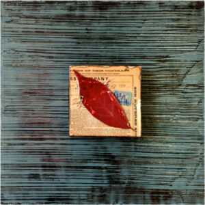 Red Leaf on Blue, Mixed Media and Acrylic on Wood by Karen Watson  (March 2015)