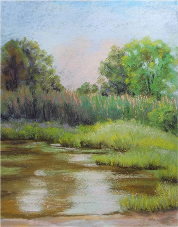 HONORABLE MENTION: Morning by the Pond, Pastel by Kathleen Willingham  (August 2015)