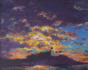Indian Island Sunset, Pastel by Kay Roscoe (July 2015)