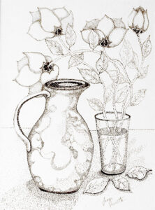 The Water Jug, Pen and Ink by Liana Pivirotto (July 2015)