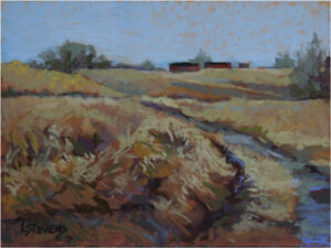 Distant Barns, Pastel by Libby Stevens  (Dec. 2015-Jan. 2016)