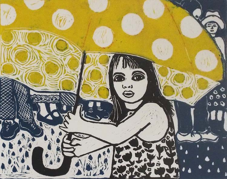 HONORABLE MENTION: Member of the Wedding, Lino Block Print by Linda Rose Larochelle  (May 2015)