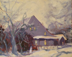 Cotton Warehouse on Cambridge Street, Falmouth, Oil by Marcia Chaves  (Dec. 2015-Jan. 2016)