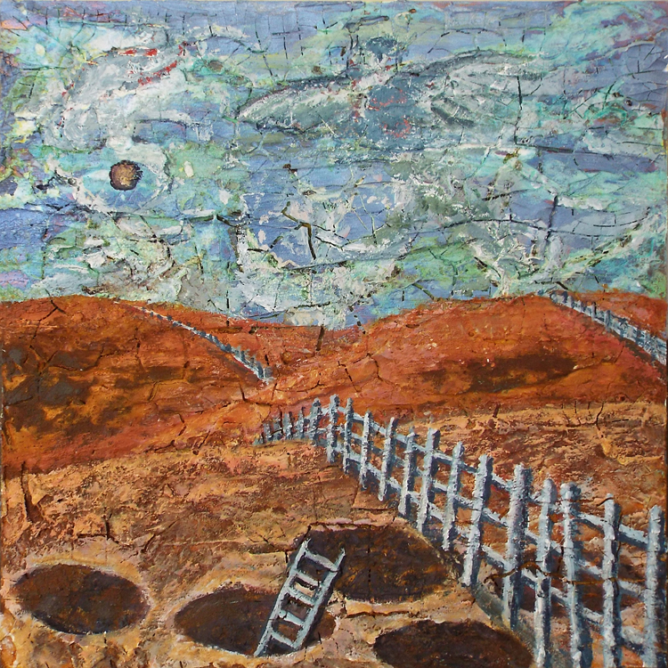 HONORABLE MENTION: Fences and Kivas, Acrylic on Panel by Patricia Smith  (November 2015)
