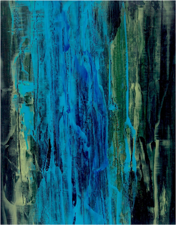 HONORABLE MENTION: Indigo Lakes/Water/Drain, Acrylic by Ray Abell  (November 2015)