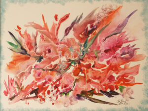 Magenta Garden, Watercolor on YUPO by Rita Rose and Rae Rose  (March 2015)