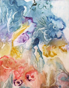 Spring Blossoms, Watercolor on YUPO by Rita Rose and Rae Rose  (April 2015)