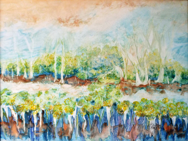 HONORABLE MENTION: Water to Roots to Nature's Design, Watercolor on YUPO by Rita Rose and Rae Rose  (April 2015)