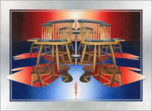 A Seat at the Negotiating Table, Color Pencil on Paper by Ron Haas  (May 2015)