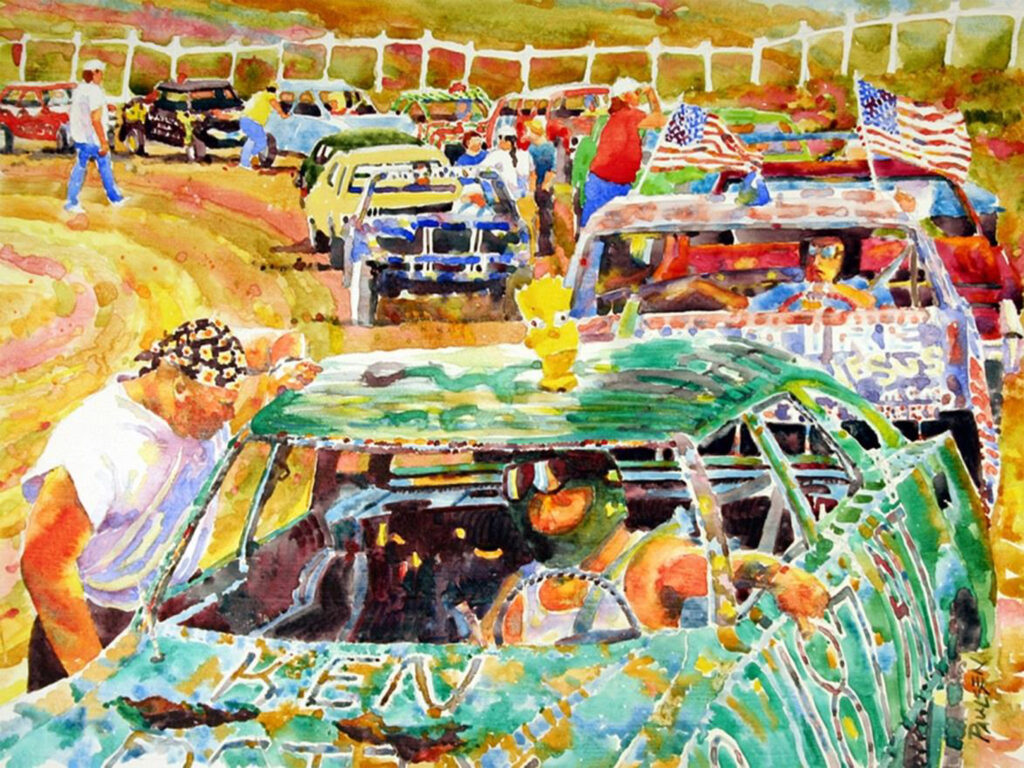 SECOND PLACE: Lining Up for the Demolition Derby, Watercolor by Kit Paulsen, 15in x 20in, $650 (April 2021)
