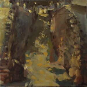 Rocky Lane City Dock, Oil by Marcia Chaves, 10in x 10in, $155 (April 2021)