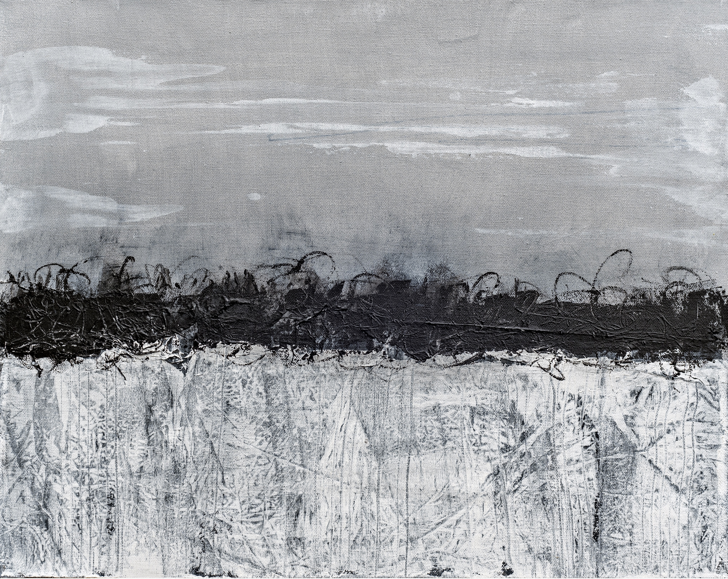White Swamp II, Oil and Cold Wax painting by Bob Worthy (MG: April 2021)