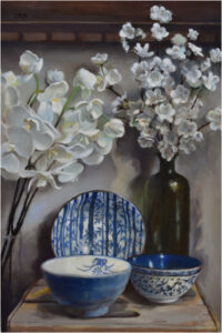 Blossoms and Blues, Oil on Wood Panel by Christine Dixon, 18in x 12in, $750 (May 2021)