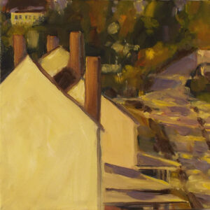HONORABLE MENTION: Falmouth Bottom-from my window, Oil by Marcia Chaves, 10in x 10in, $165 (May 2021)