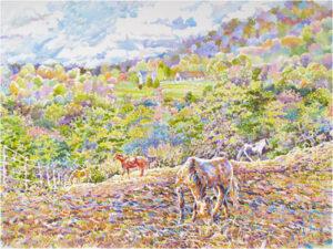 Five Horses, Watercolor by Kit Paulsen, 18in x 24in, $650 (May 2021)