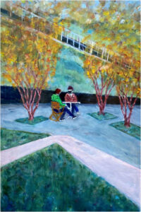 Love in the Time of Covid, Oil on Wood Board by Alan Rudnick, 36in x 24in, $950 (May 2021)