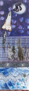 Moon Landing, Mixed Media Collage by Teresa Blatt, 18.5in x 5.75in, $240 (May 2021)