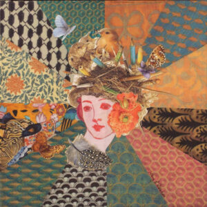 Playing Paper Dolls, Collage by Kay I Roscoe, 12in x 12in, $150 (May 2021)