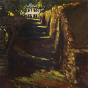 Rocky Lane- Spring '21, Oil by Marcia Chaves, 12in x 12in, $150 (May 2021)