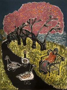 Spring By The River, Lino Cut by Linda Larochelle, 24in x 18in, $425 (May 2021)