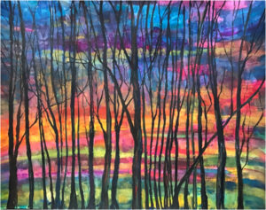Sunset, Watercolor by Elizabeth Shumate, 19in x 24in, $685 (May 2021)