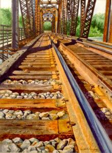 Talkeetna River Bridge, Watercolor by Lizabeth Castellano-King, 15in x 11in, $400 (May 2021)