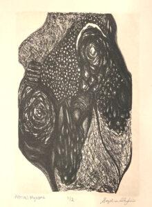 Atrial Myxoma, Stone Lithography Print by Sophia Rhafiri, 15in x 11in, NFS (June 2021)