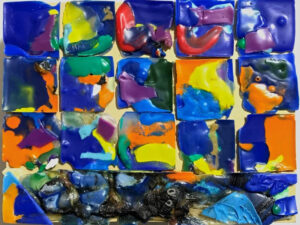 Complemented, Recycled, Melted Plastic Bottle Caps by Elizabeth Shumate, 6in x 8in, $175 (June 2021)