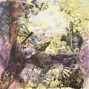 Dragonfly I, Collage by Karen Juhlin, 12in x 12in, $125 (June 2021)