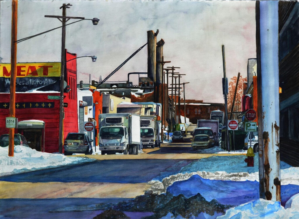 SECOND PLACE: Eastern Market, Watercolor by Keith Beale, 22in x30in, $1320 (June 2021)