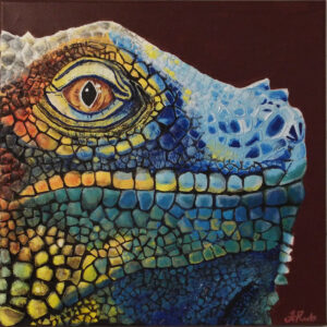 Egguana, Acrylic and Eggshells by Faith Resto, 12in x 12in, $425 (June 2021)