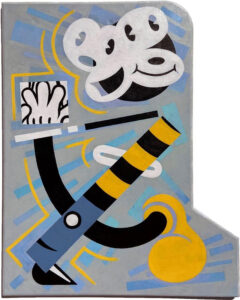 Funky Suprematism #1, Acrylic on Found Wood Board by Gavin Hartin, 20in x 16in, NFS (June 2021)