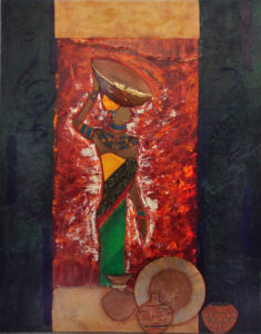 Hakuna Matata, Acrylic and Collage on Canvas by Katherine K. Owens, 43in x 36in, $3500 (June 2021)