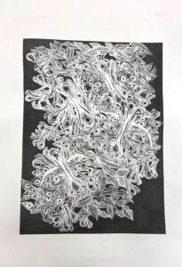 Hypnosis, Plate Lithography Print by Sophia Rhafiri, 22in x 15in, $120 (June 2021)